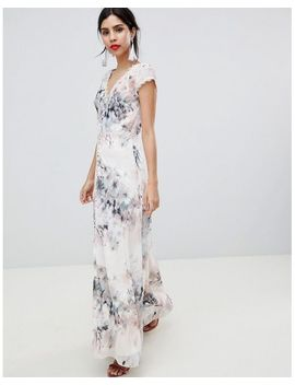 Women's Button Through Maxi Dress In Romantic Floral Print by Little Mistress