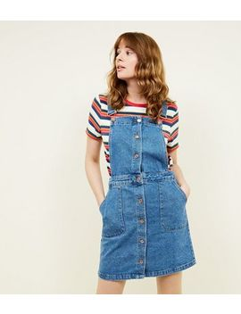 Tall Blue Button Front Denim Pinafore Dress by New Look
