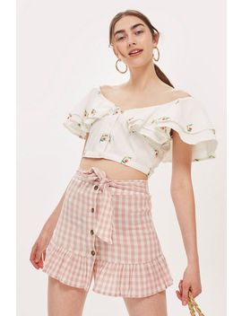 Petite Rose Gingham Mini Skirt by Topshop