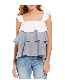 Lee Tiered Ruffle Stripe Blouse by Gianni Bini