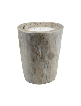 "12"" Seaside Treasures Rustic Chic Large Wooden Log Decorative Triple Wick Wax Pillar Candle by Generic"