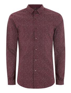 Burgundy Line Print Muscle Long Sleeve Shirt by Topman
