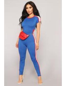 Glad You Left Jumpsuit   Royal by Fashion Nova