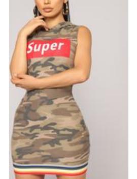 F'n Super Babe Dress   Camo by Fashion Nova