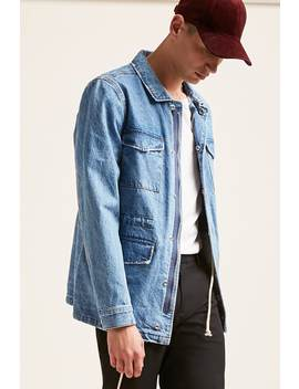 Button Flap Denim Jacket by F21 Contemporary