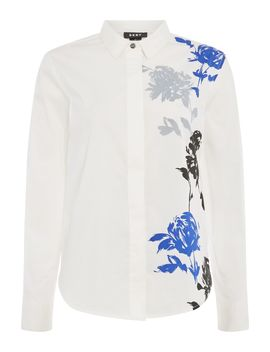 Mandarin Collared Print Side Shirt by Dkny