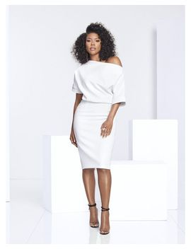 Women's White Gabrielle Union Collection   Draped Sheath Dress by New York & Company