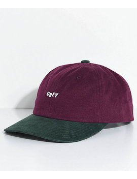 Obey 90s Jumble Burgundy &Amp; Green Six Panel Hat by Obey