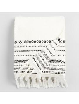Ivory And Black Tribal Striped Zohra Bath Towel by World Market