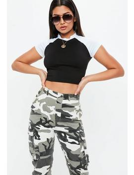 Black Contrast Raglan Sleeve Crop Top by Missguided