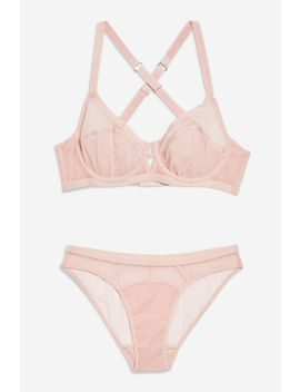 Nude Mesh Underwired Bra And Mini Knickers Set by Topshop