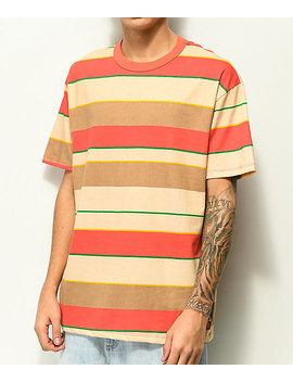 Eptm. Tan, Green &Amp; Coral Wide Stripe T Shirt by Eptm.