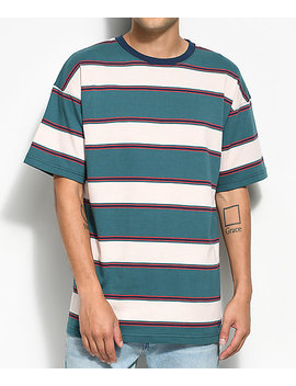 Zine Slouch Teal Multi Stripe T Shirt by Zine