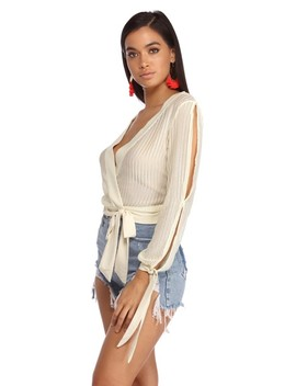 Slitting Pretty Wrap Blouse by Windsor