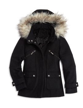 Girls' Faux Fur Trim Coat, Big Kid   100 Percents Exclusive by Aqua