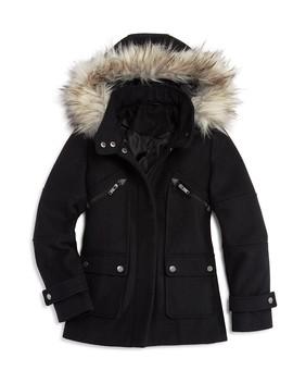 Girls' Faux Fur Trim Coat, Big Kid   100 Percents Exclusive by Aqua