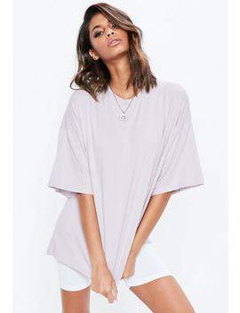 Lilac Purple Drop Shoulder Oversized Washed T Shirt by Missguided