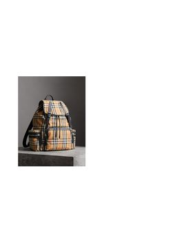 The Large Rucksack In Vintage Check And Leather by Burberry