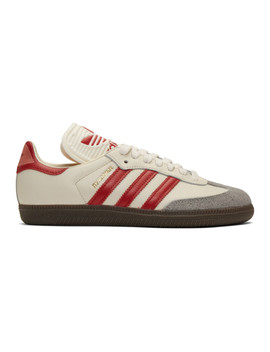 Off White & Red Samba Og Sneakers by Adidas Originals