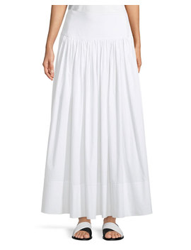Shirley Ruched Cotton Maxi Skirt by Neiman Marcus