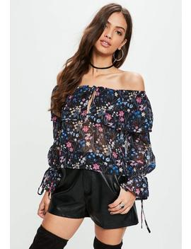 Black Chiffon Dark Floral Bardot Top by Missguided