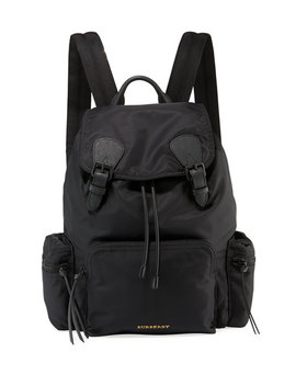 Men's Rucksack Leather Trim Nylon Backpack by Burberry