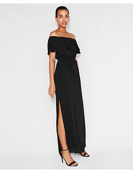 off-the-shoulder-tie-waist-maxi-dress by express