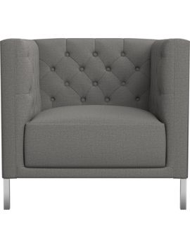 Savile Gris Tufted Chair by Crate&Barrel