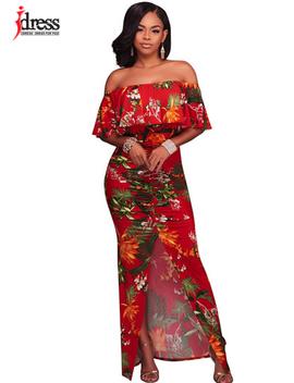 I Dress New Sexy Slash Neck Strapless Pattern Floral Split Women Maxi Dresses Off The Shoulder Ruffles Print Long Dress Vestidos by Hambelela