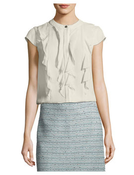Ruffled Crinkle Silk Top by Neiman Marcus