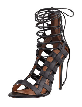 Amazon Lace Up Ankle Wrap Sandal by Neiman Marcus