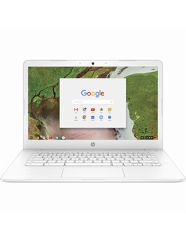 "14"" Chromebook   Intel Celeron   4 Gb Memory   16 Gb E Mmc Flash Memory   Hp Finish In Snow White With A Brushed Pattern by Hp"