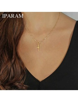 Iparam 2017 Summer Gold Chain Cross Necklace Small Gold Cross Religious Jewelry by Iparam