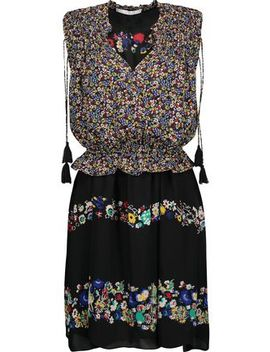 Gathered Floral Print Silk Chiffon Mini Dress by Derek Lam 10 Crosby