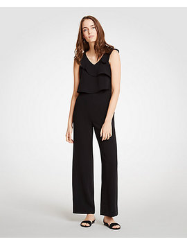 Ruffle V Neck Jumpsuit by Ann Taylor