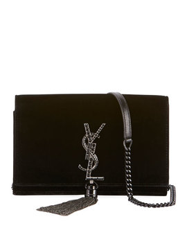 Kate Toy Small Crystal Monogram Tassel Velvet Wallet On A Chain Bag   Silvertone Hardware by Saint Laurent