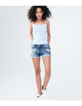 Floral Embroidered Dark Wash Denim Midi Shorts by Aeropostale