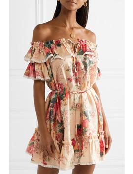 Laelia Off The Shoulder Floral Print Linen Mini Dress by Zimmermann