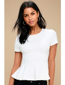 Briana White Short Sleeve Peplum Top by Lulus