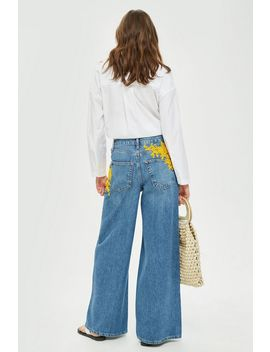 Moto Yellow Bead Wide Leg Jeans by Topshop