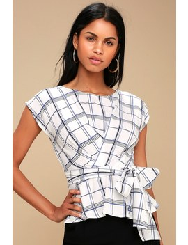 Quentin White Grid Print Peplum Top by Lulus