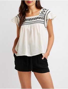 Embroidered Square Neck Top by Charlotte Russe