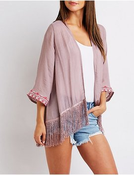 Open Front Fringe Kimono by Charlotte Russe
