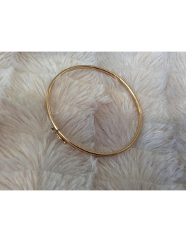 Vintage 10 K Yellow Gold Round Bangle With Safety Clip by Etsy