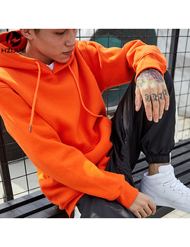 Fashion Color Hooides Men's Thick Clothes Winter Sweatshirts Men Hip Hop Streetwear Solid Fleece Hoody Man Clothing Usa Size by Hzijue