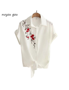 2018 Top Summer Women Casual Tops Short Sleeve Embroidery White Top Blouses Shirts Sexy Kimono Loose Beach Shirt Blusas Feminina by Nvyou Gou