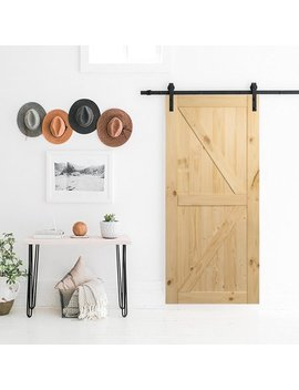 Belleze | Sliding Barn Door | Unfinished Knotty Pine |Single Door Only | No Rail Kit Included | Pre Drilled | Interior by Belleze