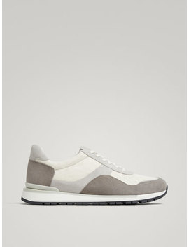 Grey Contrasting Split Suede Leather Sneakers by Massimo Dutti