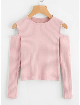 Cold Shoulder Ribbed Knit Sweater by Romwe