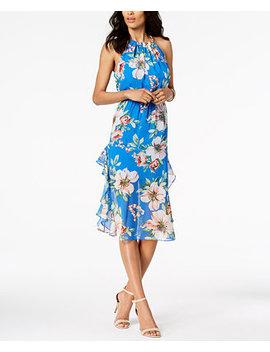 Printed Ruffled Midi Dress by Vince Camuto